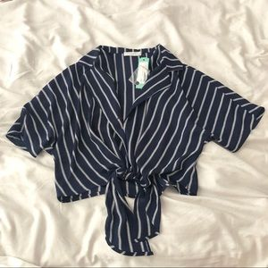 NWT LUSH STRIPED CROP BLOUSE SMALL